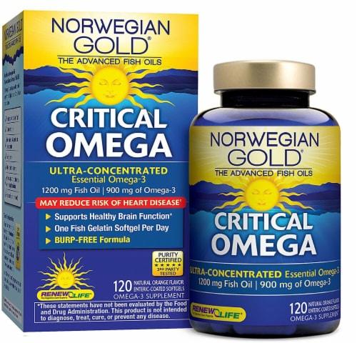 Renew Life Norwegian Gold Critical Omega Natural Orange Omega-3 Oil Supplement Softgels Perspective: front