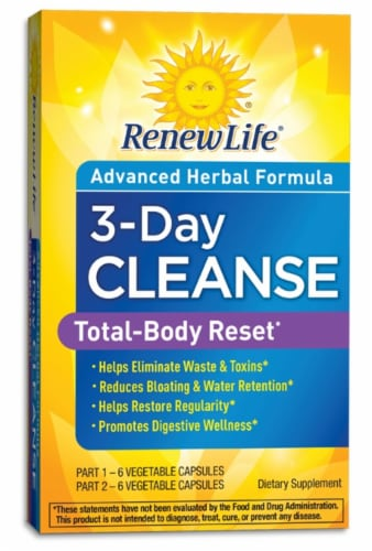 Renew Life 3-Day Cleanse Total Body Reset Vegetable Capsules Perspective: front