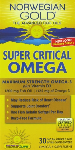 Norwegian Gold Super Critical Omega Fish Oils Perspective: front