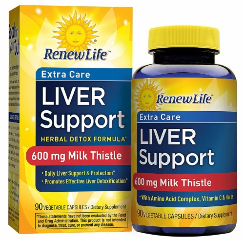 Renew Life  Liver Support™ Extra Care - Milk Thistle Liver Detox Supplement Perspective: front