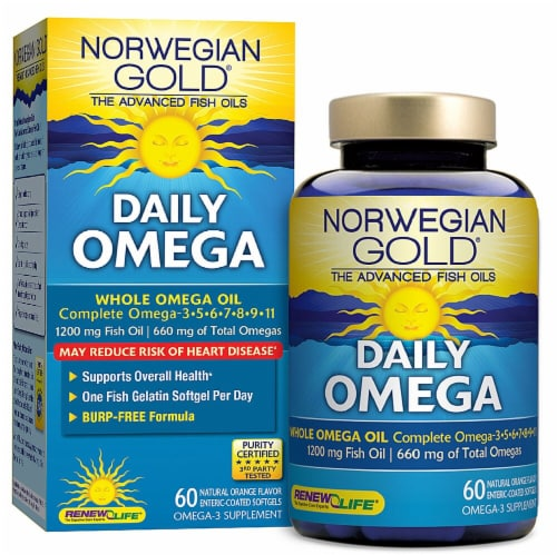Renew Life  Norwegian Gold® Daily Omega™ Whole Omega Oil Supplement   Natural Orange Perspective: front