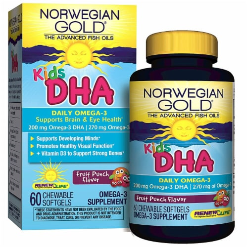 Renew Life  Kids DHA Omega-3   Fruit Punch Perspective: front