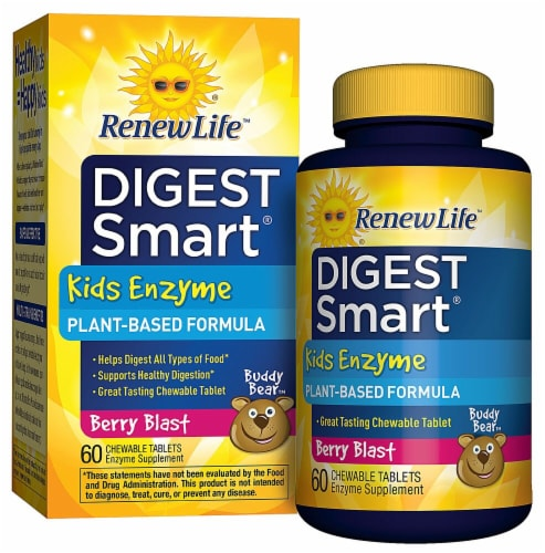 Renew Life  Digest Smart® Kids Enzyme   Berry Blast Perspective: front