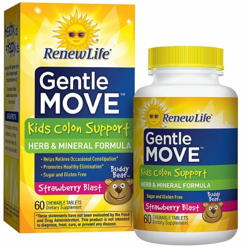 Renew Life Gentle Move Kids Colon Support Strawberry Blast Chewable Tablets Perspective: front