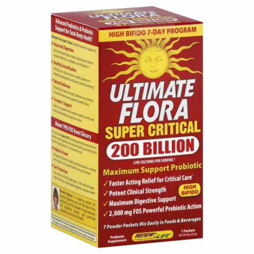 Renew Life Extra Care Ultimate Flora Probiotic Powder Packets Perspective: front