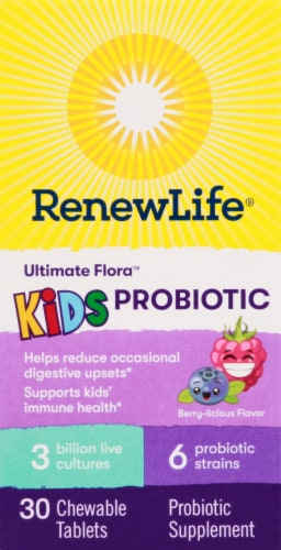 Renew Life Ultimate Flora Berry Flavor Kids Probiotic Chewable Tablets Perspective: front