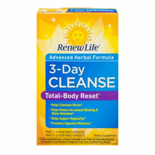 Renew Life 3-Day Cleanse Total Body Reset Dietary Supplement Vegetable Capsules 12 Count Perspective: front