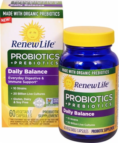 Renew Life  Daily Balance Probiotics plus Prebiotics Perspective: front