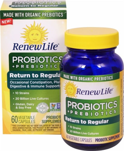 Renew Life  Return to Regular Probiotics plus Prebiotics Perspective: front