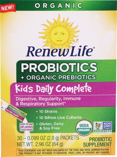 Renew Life  Kids Daily Complete Probiotics   Unflavored Perspective: front