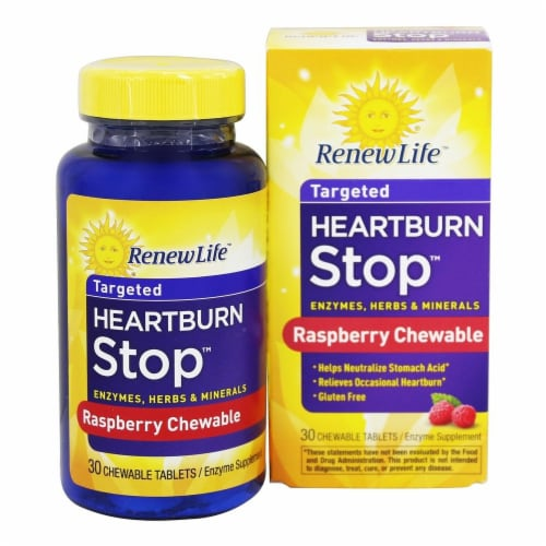 Renew Life  Heartburn Stop™ Enzyme Supplement   Raspberry Perspective: front