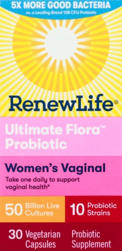 Renew Life Ultimate Flora Vaginal Support Probiotic Capsules Perspective: front