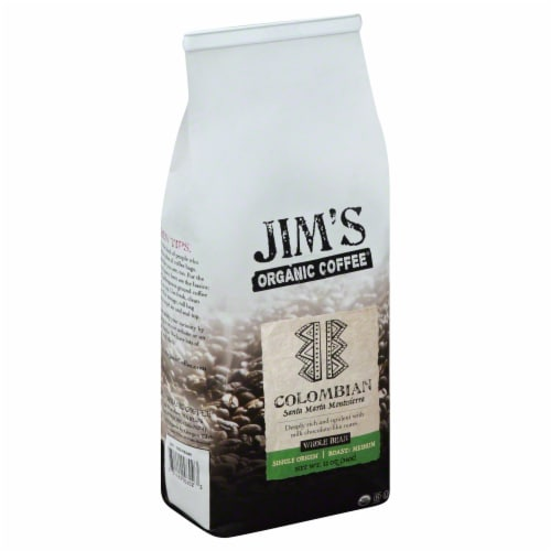 JIm's Organic Coffee Colombian Whole Bean Coffee Perspective: front