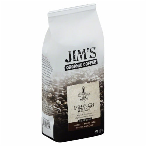 Jim's Organic Coffee Whole Bean French Roast Perspective: front