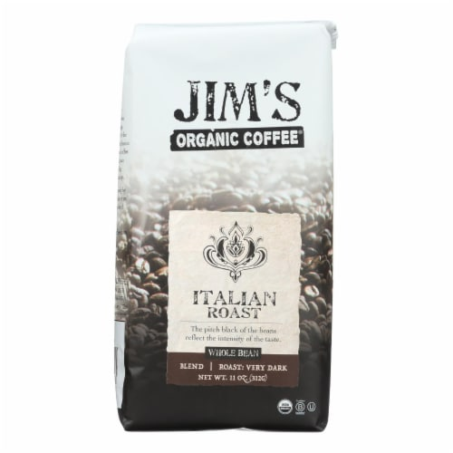 Jim's Organic Coffee - Whole Bean - Italian Roast - Case of 6 - 11 oz. Perspective: front