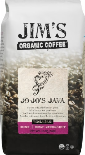 Jim's Organic Coffee Jo-Jo's Java Medium Light Roast Whole Bean Coffee Perspective: front
