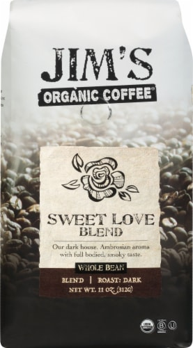 Jim's Organic Coffee Sweet Love Blend Whole Bean Perspective: front