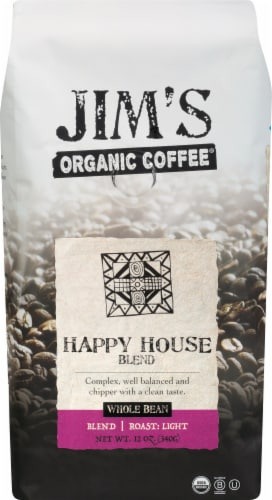 Jim's Organic Happy House Blen Whole Bean Coffee Perspective: front