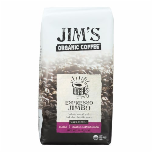 Jim's Organic Coffee - Whole Bean - Espresso Jimbo - Case of 6 - 11 oz. Perspective: front