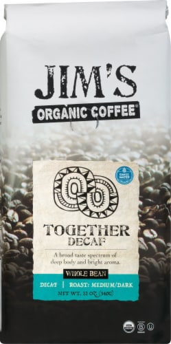 Jim's Organic Coffee Together Decaf Wholebean Perspective: front
