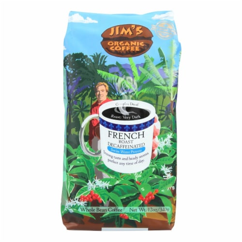 Jims Organic Coffee Coffee Beans - Organic - French Roast - Decaf - 11 oz - case of 6 Perspective: front