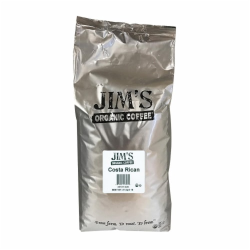 Jim's Organic Coffee Costa Rican Whole Bean Coffee Perspective: front