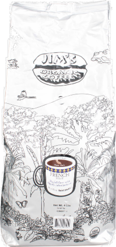 Jim's Organic Coffee French Roast Dark Perspective: front