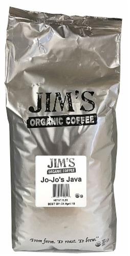 Jim's Organic Coffee Jo-Jo's Java Medium Roast Whole Bean Coffee Perspective: front