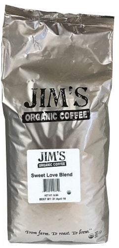 Jim's Organic Coffee Sweet Love Blend Dark Roast Whole Bean Coffee Perspective: front