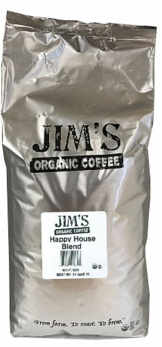 Jim's Organic Coffee Happy House Blend Medium Light Roast Whole Bean Coffee Perspective: front