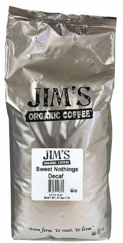 Jim's Organic Coffee Sweet Nothing Medium Light Roast Decaffeinated Whole Bean Coffee Perspective: front