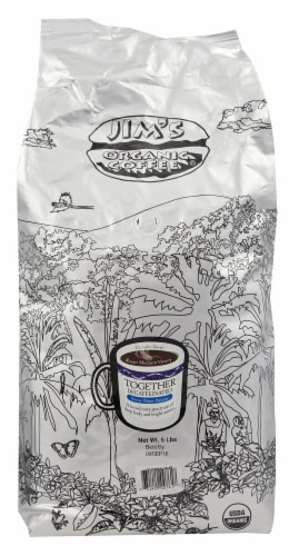 Jim's Organic Coffee Together Decaffeinated Medium Heavy Roast Whole Bean Coffee Perspective: front