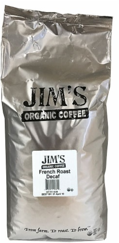 Jim's Organic Coffee Decaf French Roast Whole Bean Coffee Perspective: front