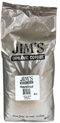 Jim's Organic Coffee Hazelnut Flavored Whole Bean Coffee Perspective: front