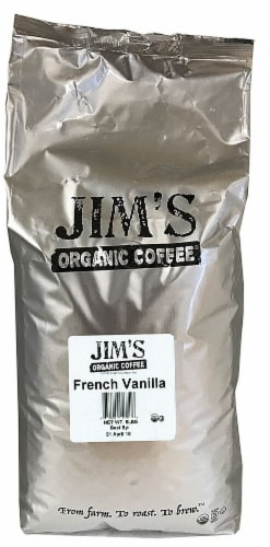 Jim's Organic Coffee French Vanilla Flavored Whole Bean Coffee Perspective: front