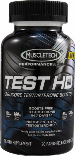 MuscleTech Test HD Harcore Testosterone Booster Rapid-Release Caplets Perspective: front