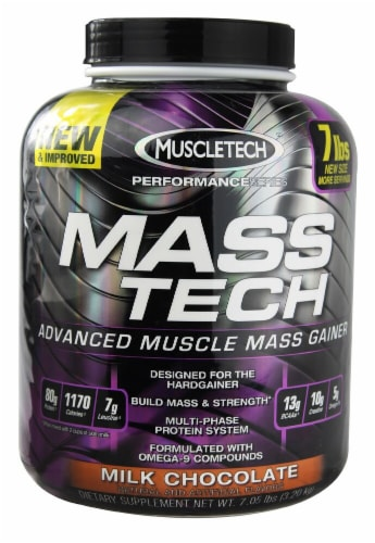 MuscleTech Performance Series Mass-Tech Milk Chocolate Flavored Advanced Muscle Mass Gainer Perspective: front