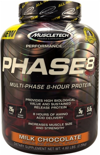 MuscleTech Phase 8 Milk Chocolate Flavored Multi-Phase 8-Hour Protein Powder Perspective: front