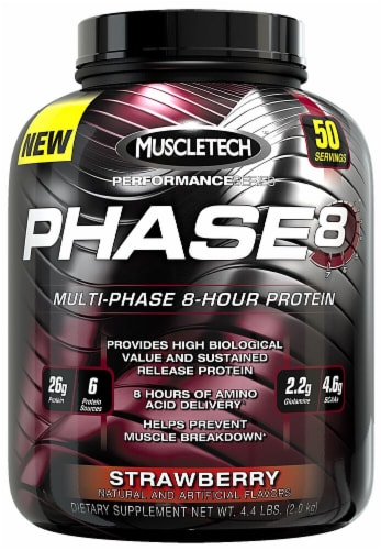 MuscleTech Phase 8 Strawberry Flavored Multi-Phase 8-Hour Protein Powder Perspective: front