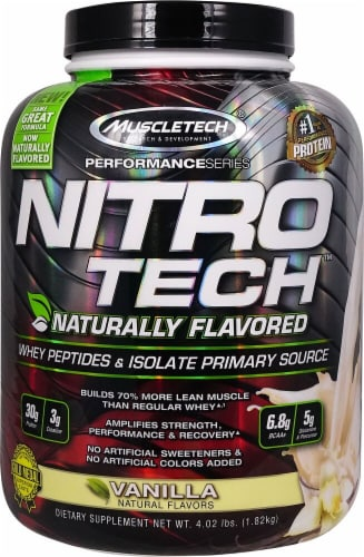 MuscleTech  Nitro-Tech™ Performance Series Naturally Flavored   Vanilla Perspective: front