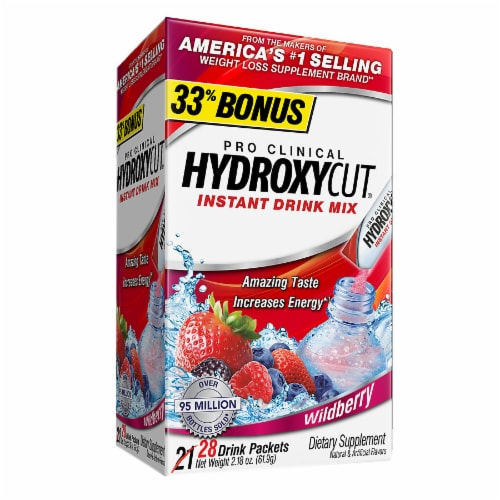 Hydroxycut Wildberry Instant Drink Mix Dietary Supplement Packets 28 Count Perspective: front