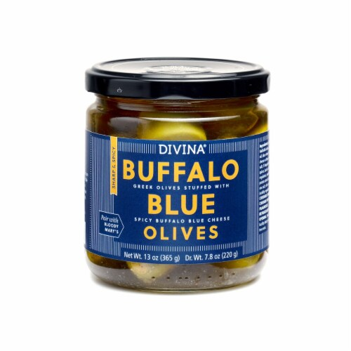 Divina Buffalo Blue Green Olives Stuffed with Spicy Buffalo Blue Cheese Perspective: front