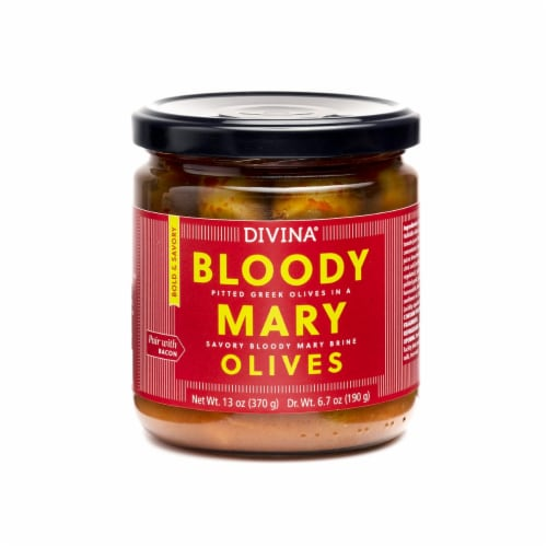 Divina Bloody Mary Pitted Greek Olives in a Savory Bloody Mary Brine Perspective: front