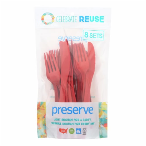 Preserve Heavy Duty Cutlery Sets - Pepper Red - 8 Sets - 24 Pieces total Perspective: front