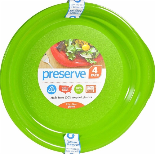 Preserve  Reusable Everyday Plates Apple Green Perspective: front