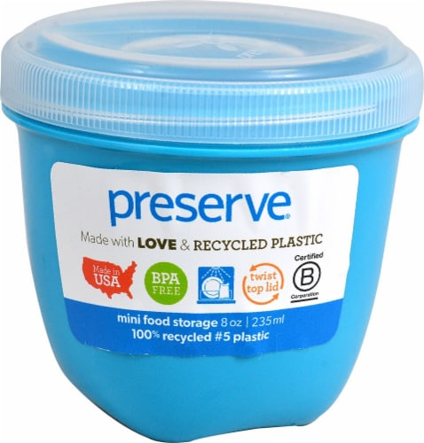 Preserve  Food Storage Container Round Mini Aqua Perspective: front