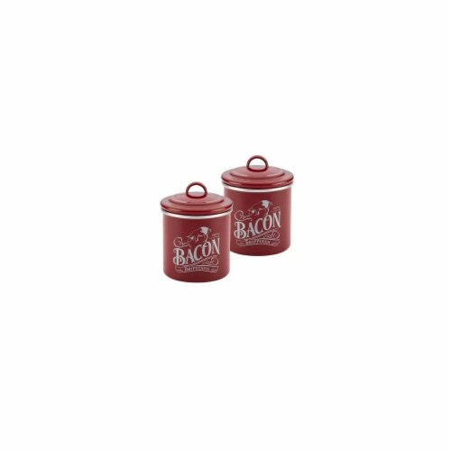 Ayesha Curry 09070 Ayesha Collection Enamel on Steel Bacon Grease Cans, Sienna Red - Set of 2 Perspective: front