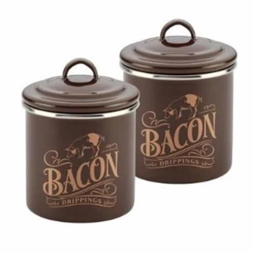 Ayesha Curry 09073 Enamel on Steel Bacon Grease Cans, Brown Sugar Set of 2 Perspective: front
