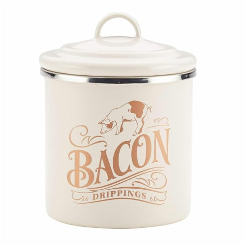 Ayesha Curry 09074 Ayesha Collection Enamel on Steel Bacon Grease Cans, French Vanilla - Set Perspective: front