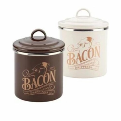 Ayesha Curry 09075 Ayesha Collection Enamel on Steel Bacon Grease Cans, Brown Sugar & French Perspective: front
